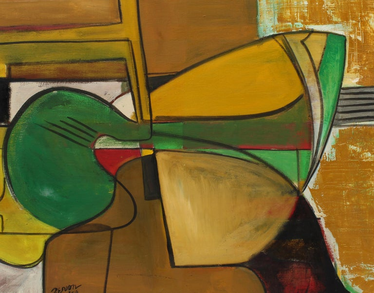 An original abstract expressionist oil painting by American female artist Irene Zevon created and dated in 1959.  This piece entitled
