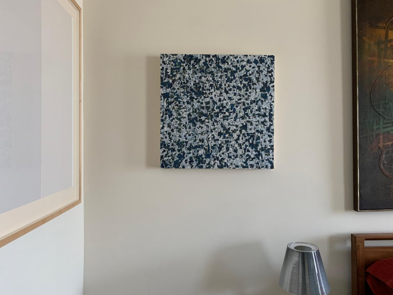 Gray with Blue Quadrants - Art by Irene Zweig