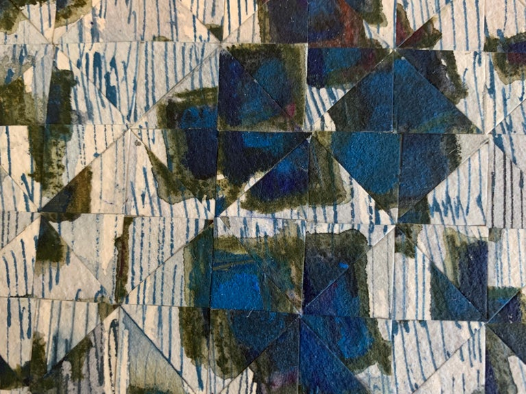 Gray with Blue Quadrants - Brown Abstract Drawing by Irene Zweig