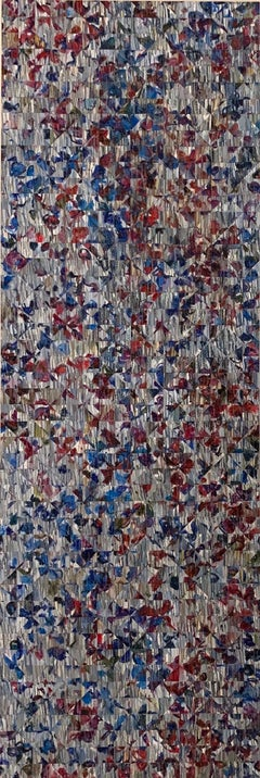 Gray with Red and Blue - vertical geometric mosaic painting on panel