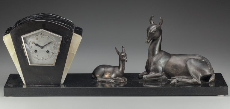 Carved Irénée Rochard French Art Deco Large Mantle Clock with Deer, circa 1925 For Sale