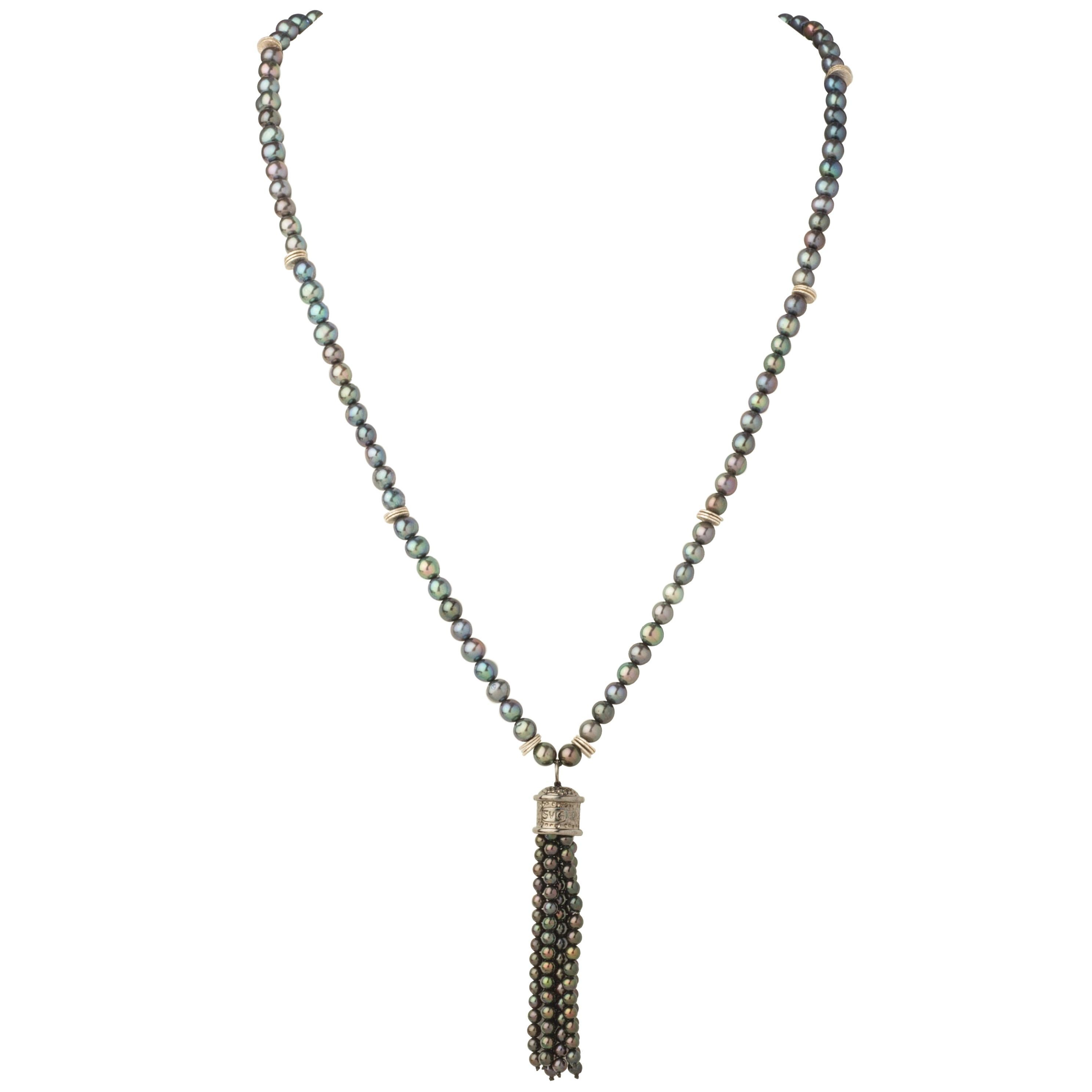 Iridescent Pearl Sterling Silver Tassel Pendant Necklace
