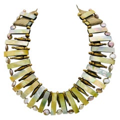 iridescent beads Vermeil beads Pearls Eco Statement necklace , by Sylvia Gottwal