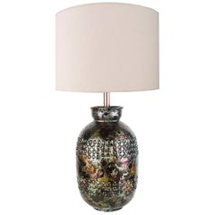 Iridescent Bitossi Table Lamp for Raymor, Italy, circa 1950s