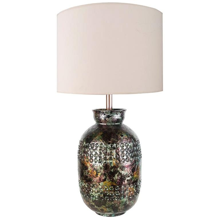 Iridescent Bitossi Table Lamp for Raymor, Italy, circa 1950s For Sale