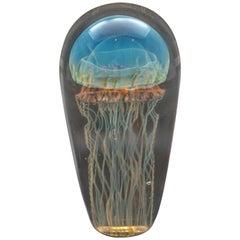 Iridescent Blue Handblown Jellyfish Glass Sculpture