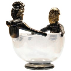 Iridescent Bowl with figurine in Figurehead Position, Ercole Barovier, 1930