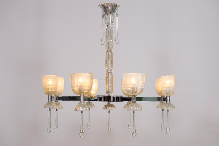 Iridescent Chandelier in Blown Murano Glass and Chromed Contemporary Italy For Sale 3