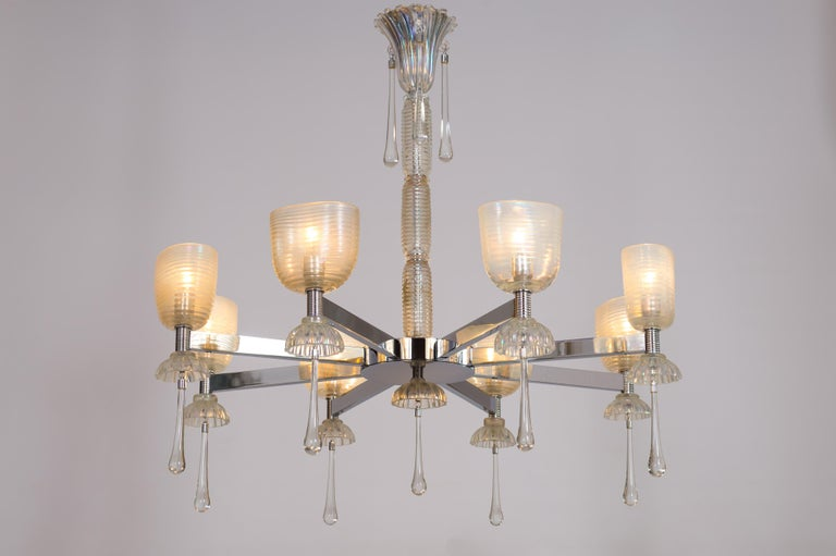 Iridescent Chandelier in Blown Murano Glass and Chromed Contemporary Italy For Sale 6