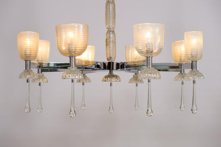 Iridescent Chandelier in Blown Murano Glass and Chromed Contemporary Italy For Sale 9