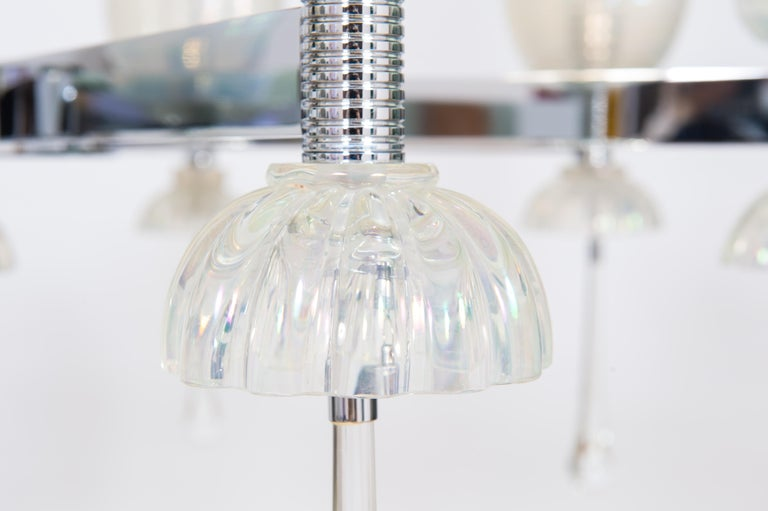 Modern Iridescent Chandelier in Blown Murano Glass and Chromed Contemporary Italy For Sale