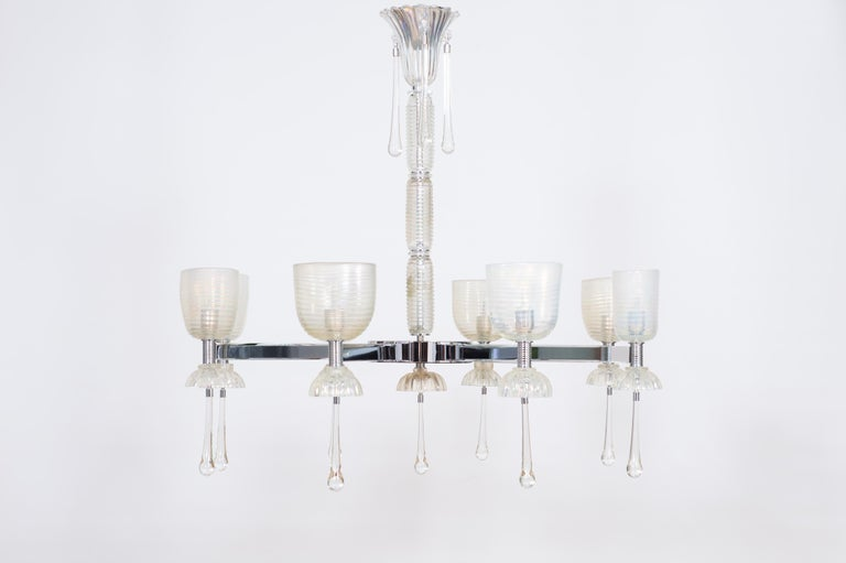 Iridescent Chandelier in Blown Murano Glass and Chromed Contemporary Italy For Sale 1