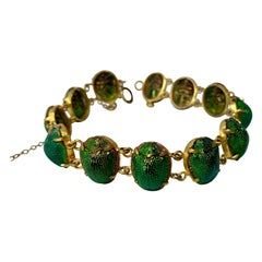Iridescent Enamel Scarab Beetle Bracelet Antique Egyptian Revival