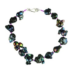 Iridescent Fireball Purple Pearl Choker Necklace