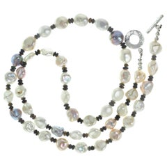 Gemjunky Iridescent, Glowing, Freshwater Pearl Necklace with Black Opal accents