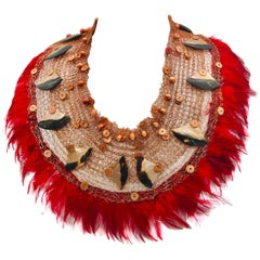 Iridescent Gold/brown Nacre ,Red feathers ,Statement necklace by Sylvia Gottwald