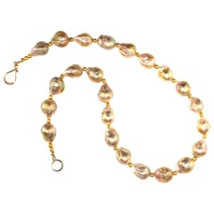Gemjunky Iridescent Golden Baroque Pearl Necklace