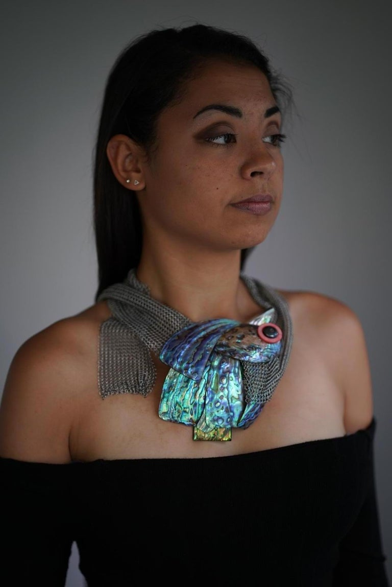 Women's Iridescent ,green/ blue Nacre ,Sustainable Statement Necklace by Sylvia Gottwald For Sale
