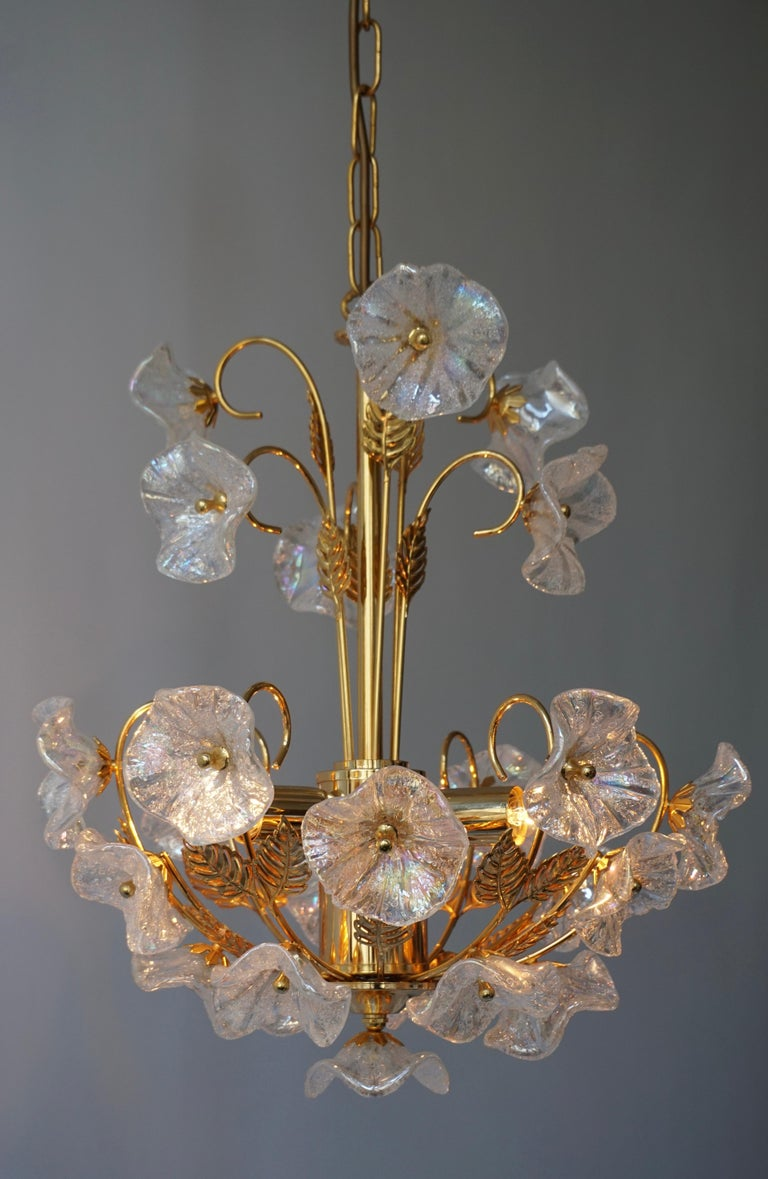 Iridescent Murano glass and brass floral chandelier.