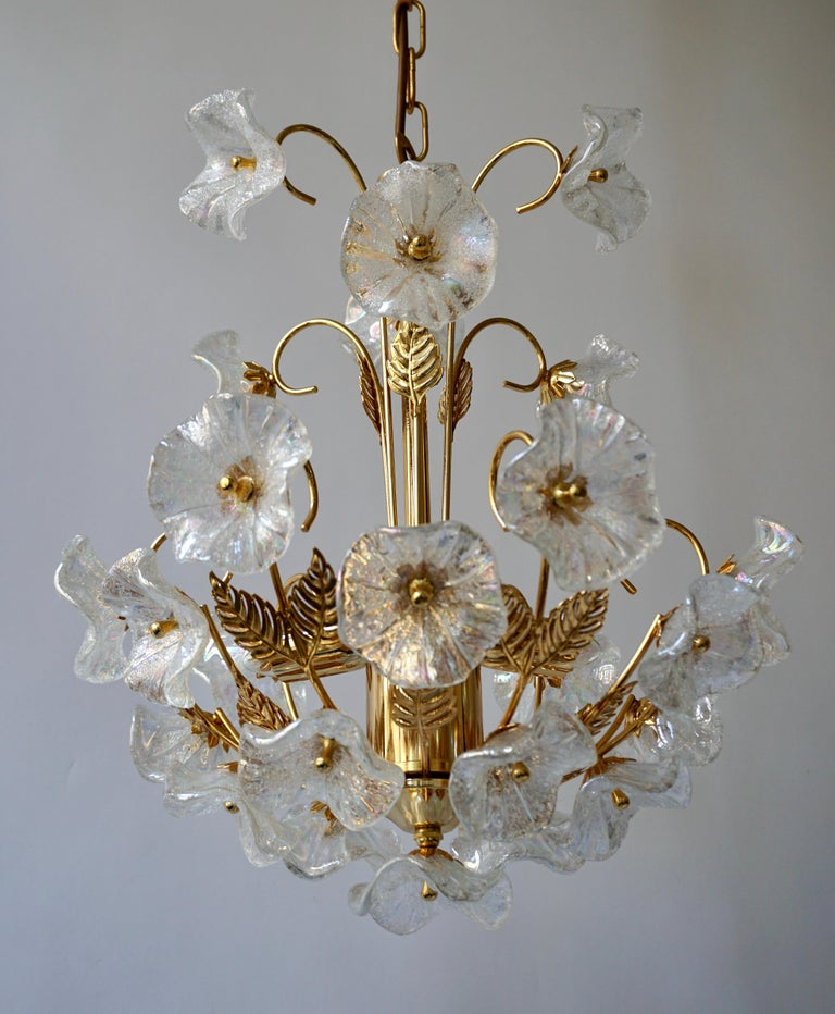 Hollywood Regency Iridescent Italian Murano Glass and Brass Flower Chandelier For Sale