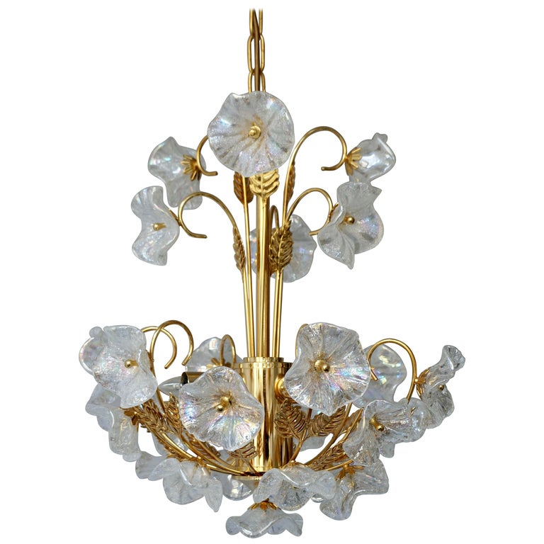 Iridescent Italian Murano Glass and Brass Flower Chandelier For Sale