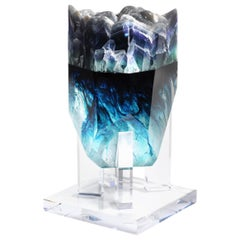 Iridescent Fluorite and Deep Blue Hues Faceted Glass Fusion Sculpture