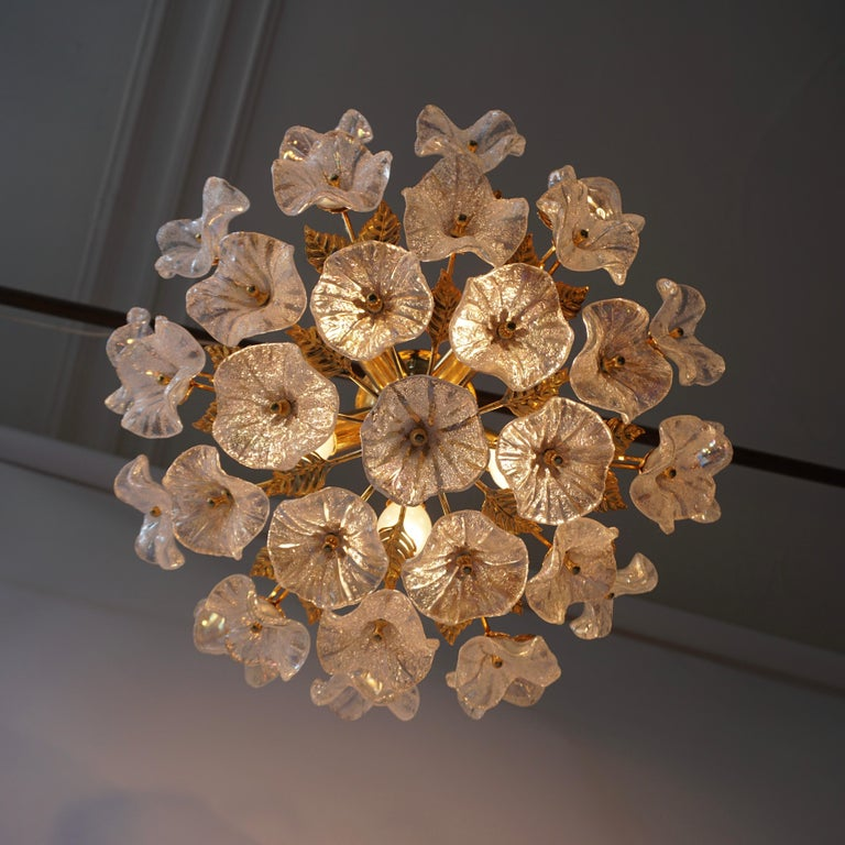 Iridescent Murano glass and brass floral ceiling light or wall light.