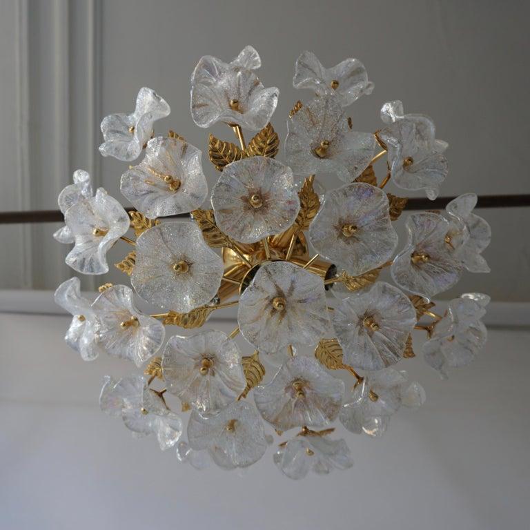 Italian Iridescent Murano Glass and Brass Flower Flush Mount For Sale