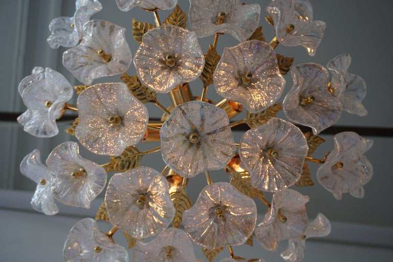 Iridescent Murano Glass and Brass Flower Flush Mount For Sale 2