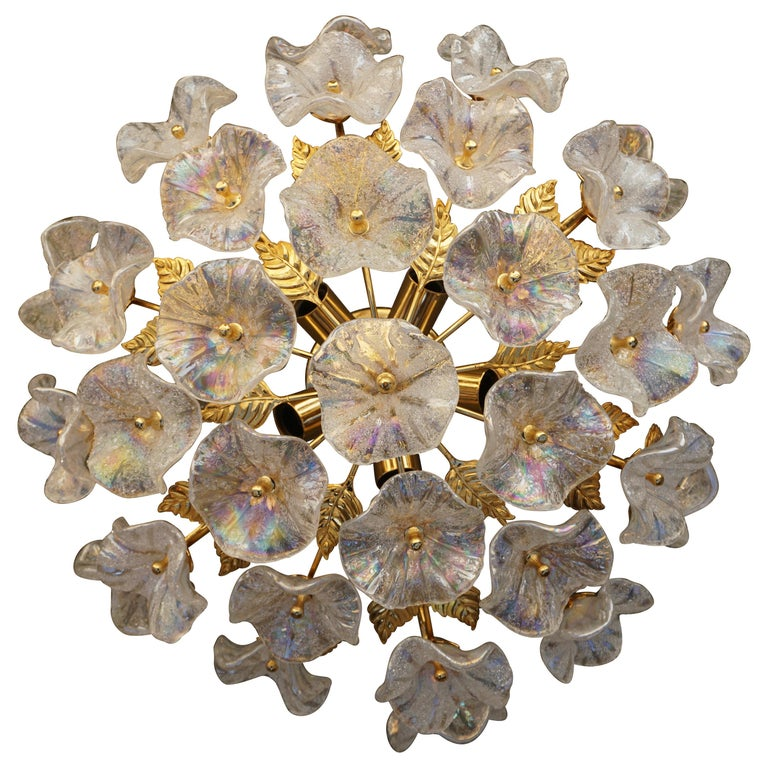 Iridescent Murano Glass and Brass Flower Flush Mount For Sale