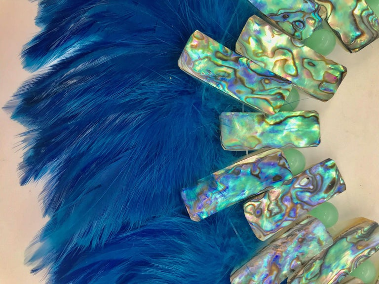 Artisan Iridescent Paua/Abalone , Blue  Feathers ,Statement Necklace, by Sylvia Gottwald For Sale