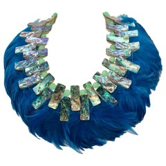 Iridescent Paua/Abalone , Blue  Feathers ,Statement Necklace, by Sylvia Gottwald