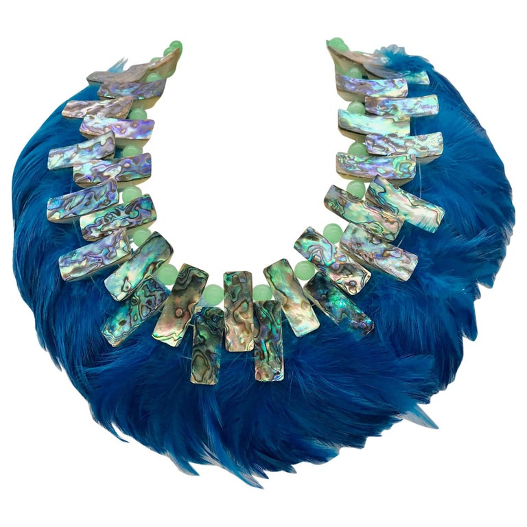 Iridescent Paua/Abalone , Blue  Feathers ,Statement Necklace, by Sylvia Gottwald For Sale