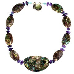 Gemjunky Iridescent Paua Shell Short Necklace Accented with Amethyst and Apatite