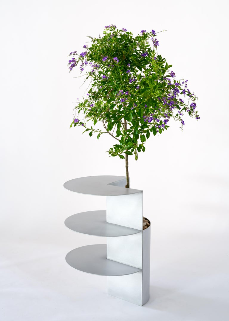 Iridescent Plum Blue Side Table Planter by Birnam Wood Studio In New Condition For Sale In Ridgewood, NY