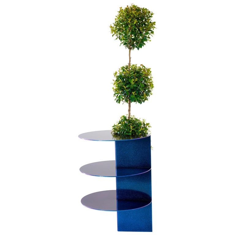 Iridescent Plum Blue Side Table Planter by Birnam Wood Studio For Sale
