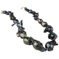 Iridescent Purple Fireball Pearl Necklace