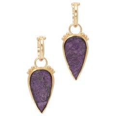 Iridescent Purpurite Teardrop Earrings in 22 Karat and 18 Karat Gold