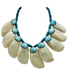 Iridescent Shells with Art Deco Elements Summer Necklace by Sylvia Gottwald