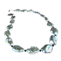 Iridescent Silvery Baroque Pearl Necklace