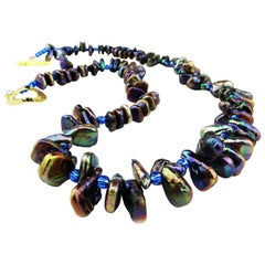 Iridescent, Triangular Bronze-Green Pearl Necklace