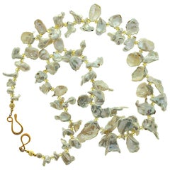 Iridescent White Keshi Pearl Necklace with Citrine Accents