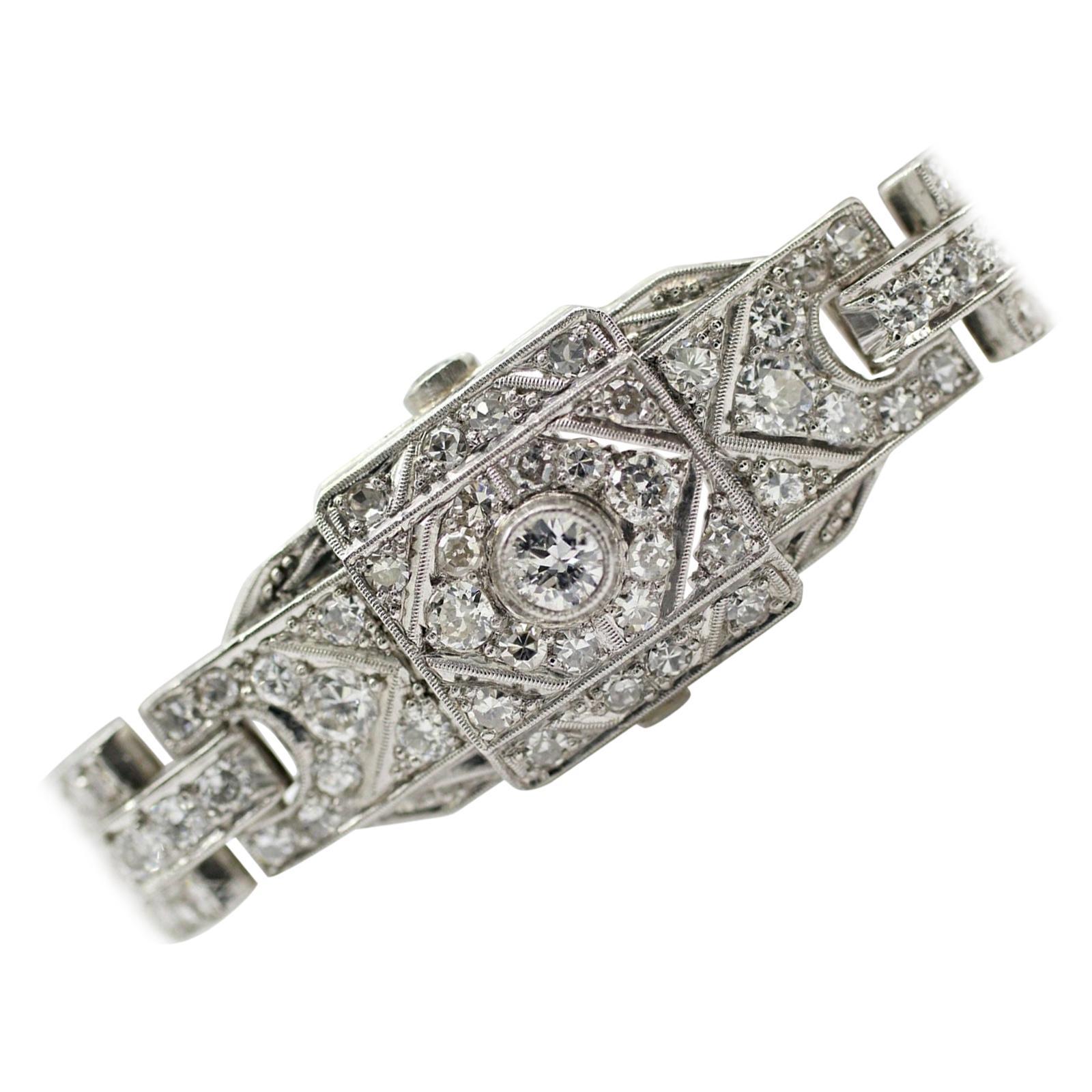 Iridium/Platinum Art Deco Style Diamond Watch Bracelet
