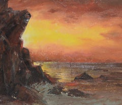 "Irina Roudakoff Belotelkin ""Coastal Sunset"" Original Painting c.1960s"