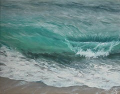Birds Eye original seascape painting Contemporary realism Art 21st