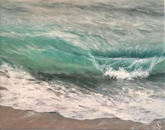 Birds Eye original seascape painting Contemporary realism Art 21st