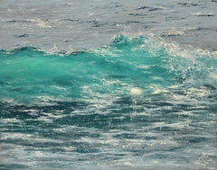 Blue Rays I original seascape painting Contemporary realism Art 21st