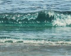 Closer to the shore original seascape painting Contemporary realism Art 21st