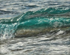 Double Wave original seascape painting Contemporary realism Art 21st