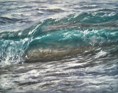 Double Wave original seascape painting Contemporary realism Art 21st